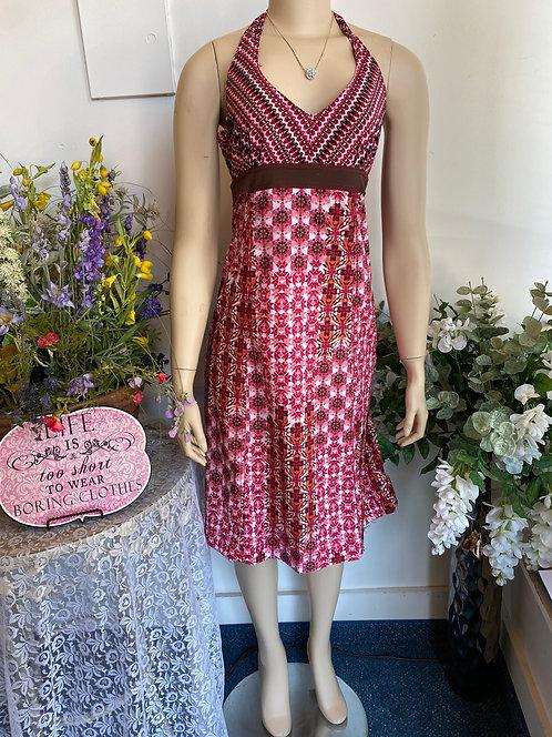 Athleta Berry/White/Brown Flower Print Halter Dress - Size 4 Tall