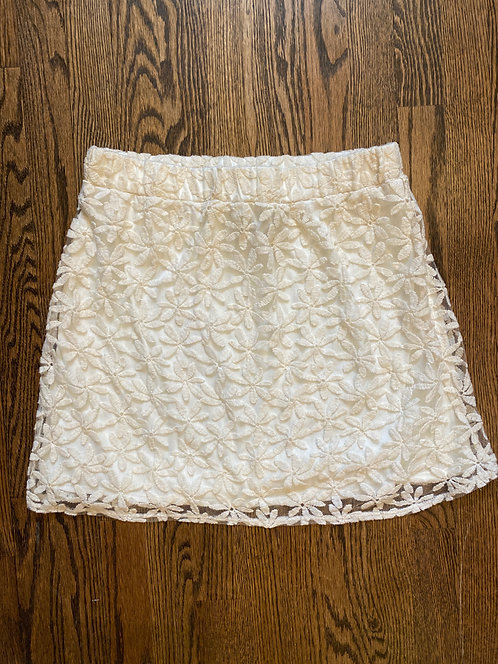 AB Studio Ivory Flower Lace Skirt - Size S