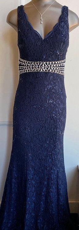 NWT My Michelle Navy Lace Formal Dress - Size 5