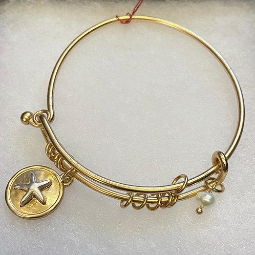 Starfish Charm Bangle Bracelet