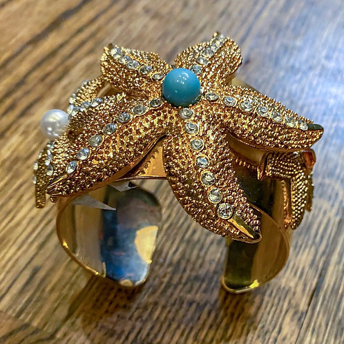 Starfish Cuff w/ Turquoise and Pearl