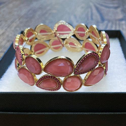 Stretch Bracelet w/ Rose Colored Stones
