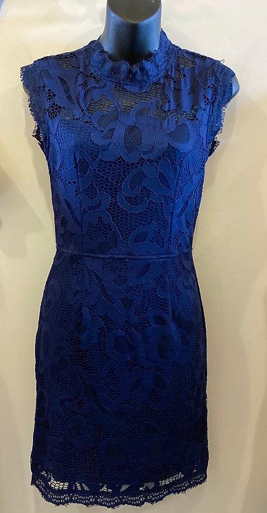 Sans Souci Navy Lace Dress, Full Back Zip - Size S