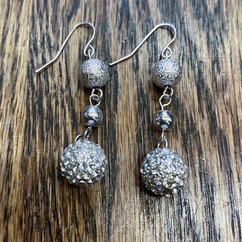 Silver Dangle Sparkly Drop Earrings