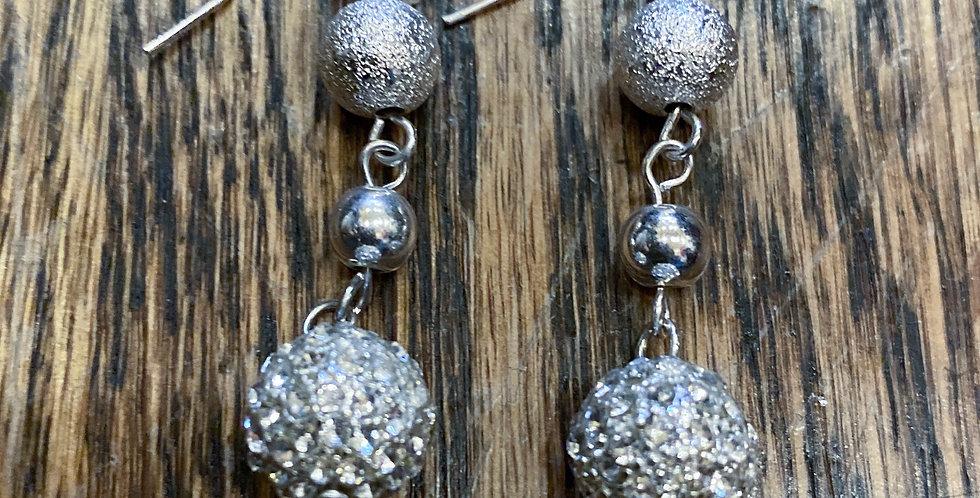Silver Dangle Sparkly Drop Earrings