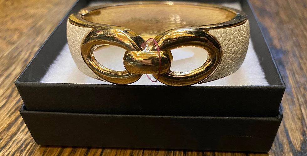 White & Gold Hinge Bracelet