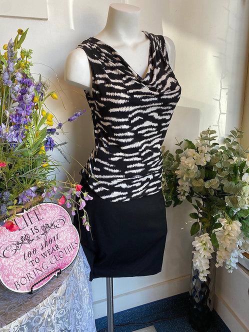Zebra Print Tank & NWT Express Black Skirt