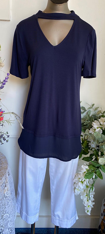 NWT Cupid Navy Tee w/ v-cutout front and back - Size M