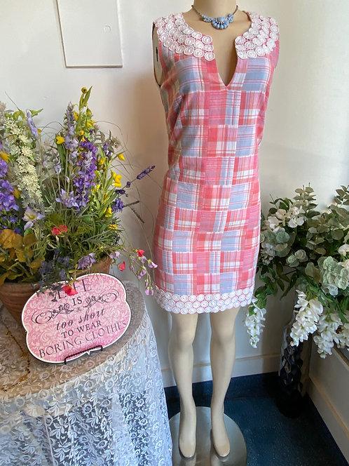 Vineyard Vines Pink/Blue/White Plaid Dress - Size 0