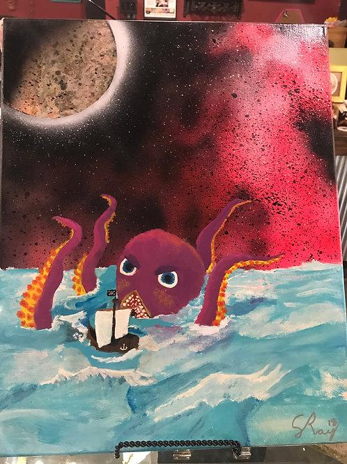 Galaxy Spray Paint Octopus Art