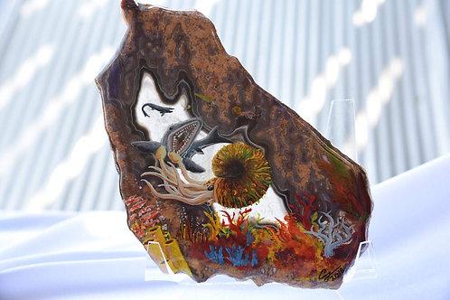 Sliced Agate- Underwater painting