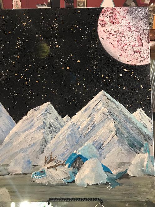 Galaxy Spray Paint Art with winter Dragon