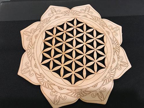 Wooden Lotus Flower of Life Grid