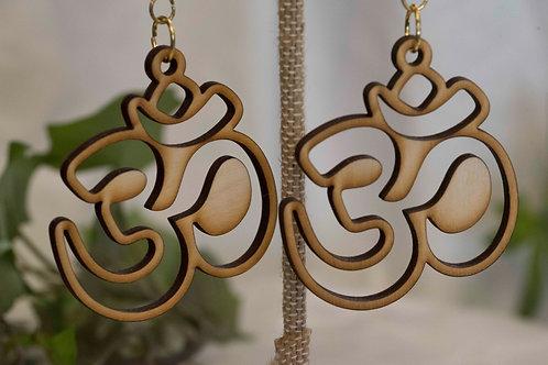 OM Wooden Earrings