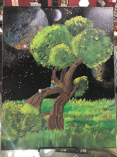 Galaxy Spray paint Tree with Witch