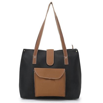 Front Pocket and Flap Black Tan Handbag