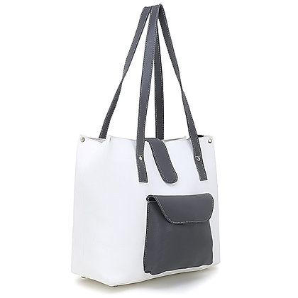 Front Pocket and Flap White Handbag