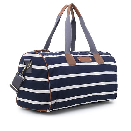 Blue Stripped Canvas Gym Bag
