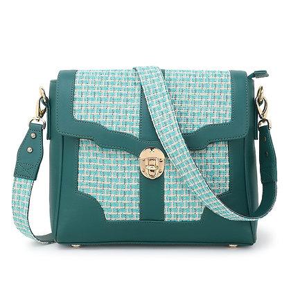Turquoise Jacquard Shoulder Bag