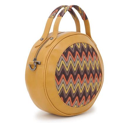 Mustard Embroidered Round Bag