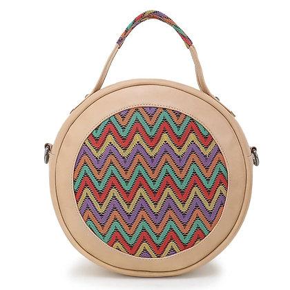 Beige Embroidered Round Bag