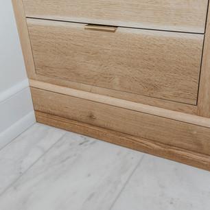 White oak bathroom storage