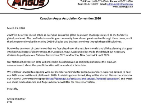 CONVENTION POSTPONED To 2022 in Moncton