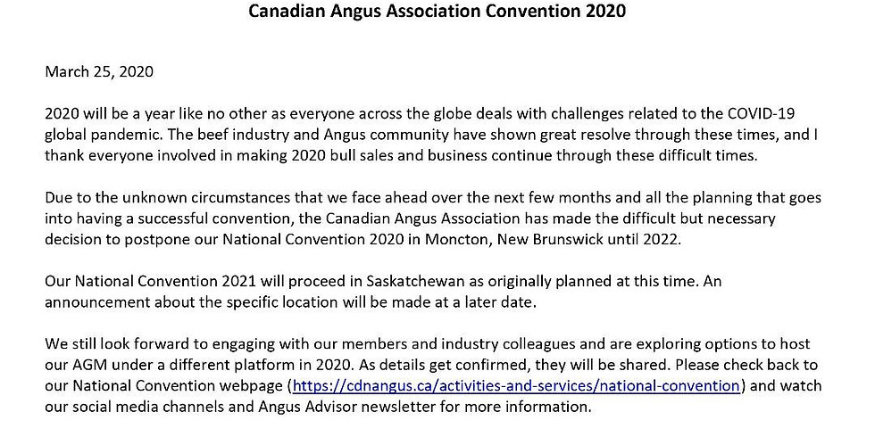POSTPONED TO 2022- National Angus Convention