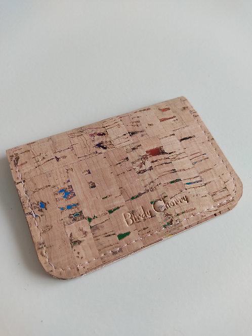 Porte cartes liège naturel éclats multicolores