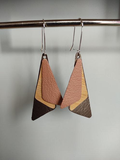 Boucles d'oreilles Seven bois et cuir vieux rose/bronze