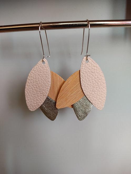 Boucles d'oreilles Léane bois et cuir poudré/doré