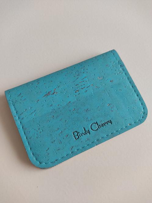Porte cartes liège turquoise