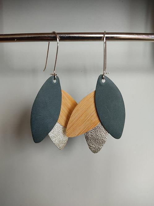 Boucles d'oreilles Léane bois et cuir vert anglais/doré
