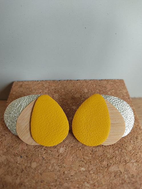 Boucles d'oreilles Clarisse bois et cuir jaune/doré