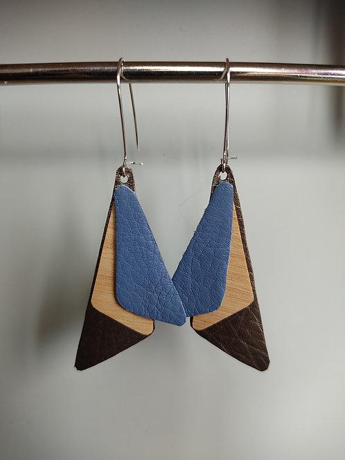 Boucles d'oreilles Seven bois et cuir bleu/bronze