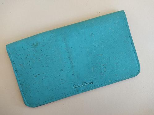 Porte chéquier liège turquoise
