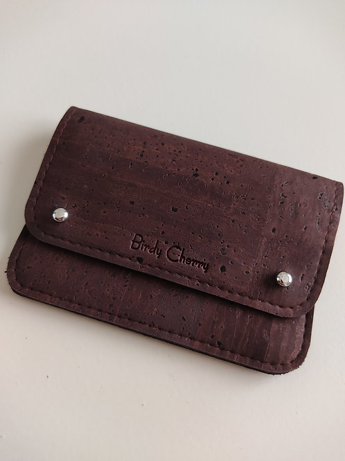 Portefeuille mini liège chocolat