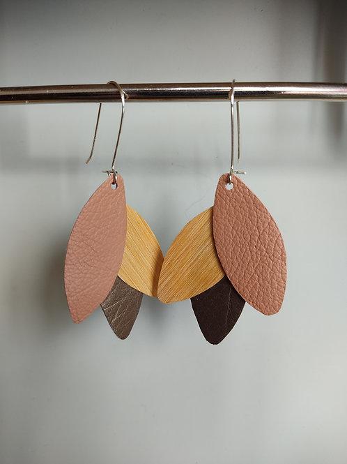 Boucles d'oreilles Léane bois et cuir vieux rose/bronze
