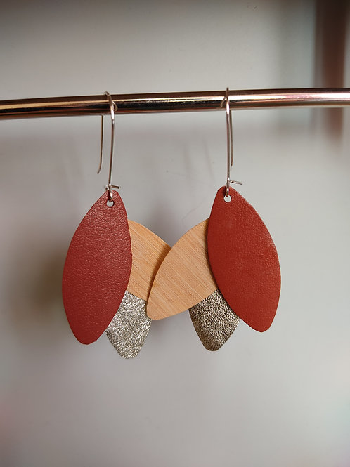Boucles d'oreilles Léane bois et cuir brique/doré