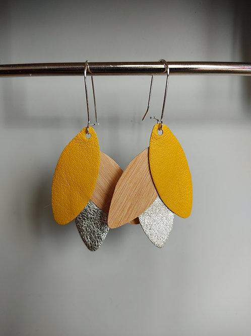 Boucles d'oreilles Léane bois et cuir jaune/doré