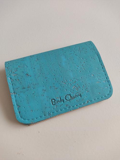 Porte cartes et monnaie liège turquoise
