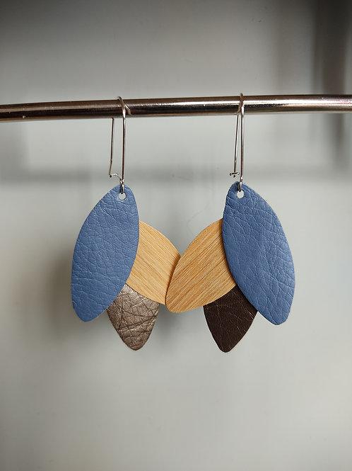 Boucles d'oreilles Léane bois et cuir bleu/bronze