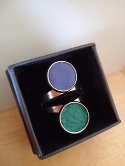 Bague double plateau bleu/vert