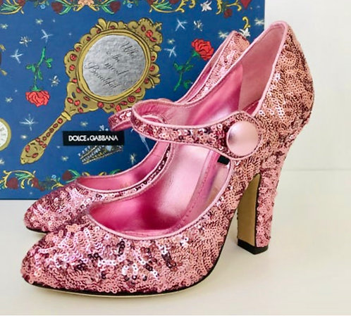 Dolce& Gabbana Pink Sequin Mary Jane Pumps
