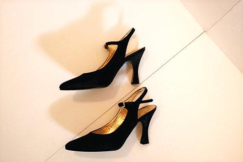 Allure Black Satin pumps-Size 7.5