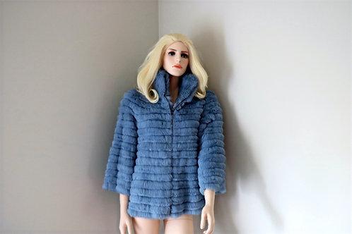 Luisa Spagnoli Blue Rabbit Fur Coat
