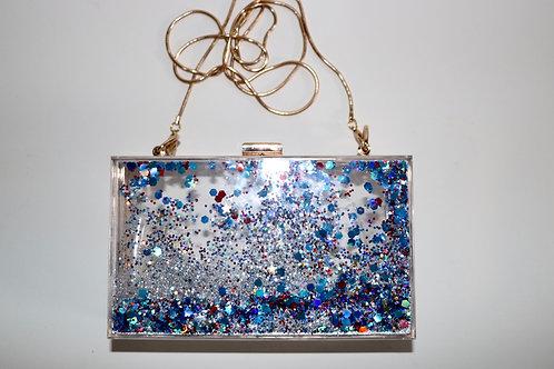 Transparent Cascading Glitter Purse