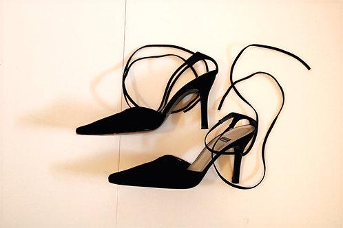 Stuart Weitzman black suede strappy heels 7B