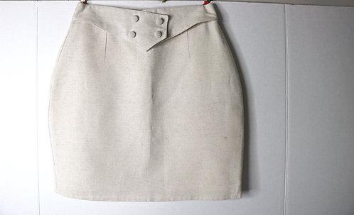 Women's short cream linen skirt