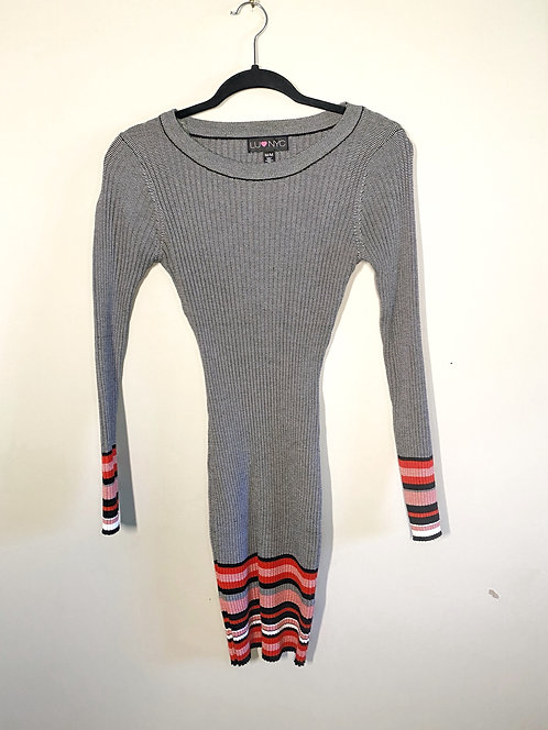 LuvNyc Gray Sweater Dress-Size M